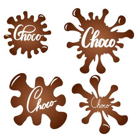 Satz Schokoladenspritzer mit Bürstenkalligraphie. Schoko-Schriftzug. Honigige Inschrift auf süßen Tropfen. Vektorelement