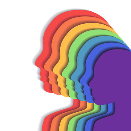 Team rainbow people in profile. Layered paper cut illustration. Unity and recognition of orientation. 3d origami silhouettes. Vector element for cards, banners and your creativity