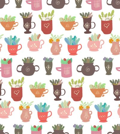Seamless flat pattern with cups of tea with foliage and various ingredients on white background. Mugs with summer ingredients in a row. Vector texture for wallpapers, baby fabrics and your creativity