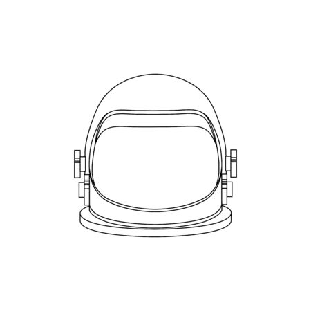 Line art illustration of an astronaut helmet. Front view. Space tourism. The object is separate from the background. Vector element for logo, icon and your creativity.