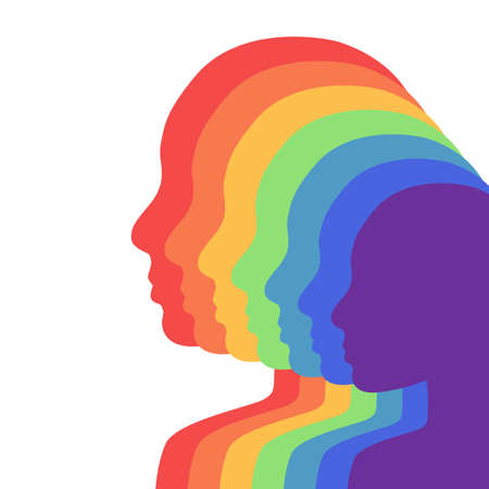 Team rainbow people in profile. Layered illustration. Unity and recognition of orientation. Colorful silhouettes. Vector element