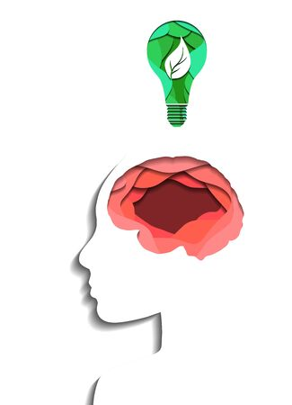 Layered human brain and eco light bulb cut out of pape on white background. Paper cut origami. Eco friendly idea and innovation. Vector 3d illustration for article, banner and your design