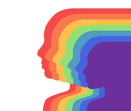 Team rainbow people in profile. Layered illustration. Unity and recognition of orientation. Colorful silhouettes. Vector template