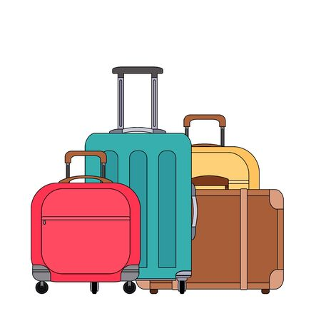 Color cartoonillustration of various suitcases. Family travel. Linear drawing of luggage and scrub. Vector colored element for logos, articles, icons and your design.
