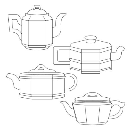 Set of contour Chinese clay teapots for tea. Linear drawing of a kettles. Tea ceremony. Objects isolated from the background. Vector element Ilustrace