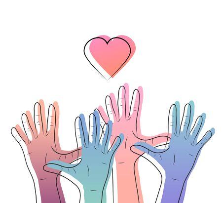 Illustrazione lineare delle mani umane con gradiente di colore con cuori. Giornata internazionale dell'amicizia e della gentilezza. L'unità delle persone. Elemento vettoriale