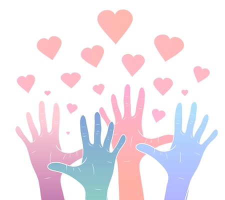 Gentle illustration of color gradient human hands with hearts. International day of friendship and kindness. The unity of people. Vector element for cards, invitations, templates and your creativity.