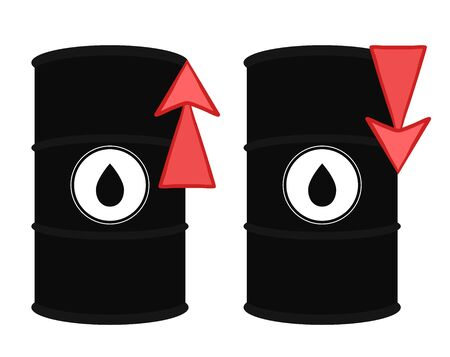 Rise and decline in price of oil market prices. Set of vector illustrations of oil barrel and red up and down arrow. Increasing demand. Fuel shortage. The object is separate from the background