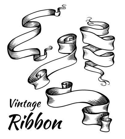 Set of vintage black and white ribbons with a hatch. Parchment scrolls. The object is separate from the background. Vector template for articles, banners, cards and your design.