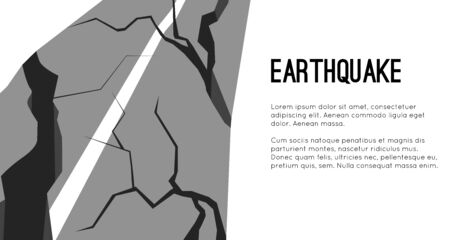 Vector flat horizontal template with earthquake damaged road and space for text. Splits and cracks. Faults on the pavement.  Modern cataclysm. Object for cards, banners and your design. Иллюстрация