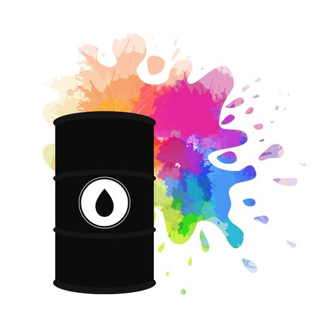 Spilled rainbow oil. Vector illustration of oil barrel, oil splash and drops around. Watercolor splashes. The object is separate from the background. Increasing demand. Fuel shortage. Illustration