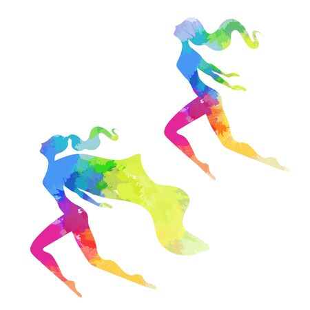 Set of silhouettes of women superheroes with rainbow watercolor stains. The rights of women and lesbians. Female power and independence. Vector object for cards, banners and your design.