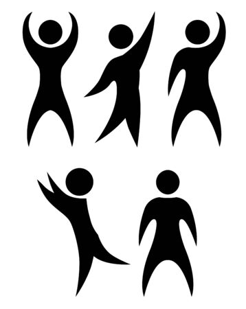 Set of simple black silhouettes of rejoicing and dancing people. The object is separate from the background. 일러스트