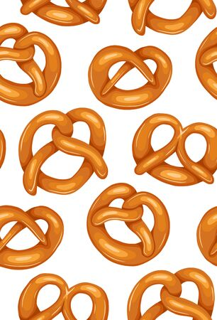 Seamless pattern with various cartoon pretzels. German appetizer. Treats for the holidays. Bakery product. Vector texture for wallpaper, backdrop, cards and your creativity. 일러스트