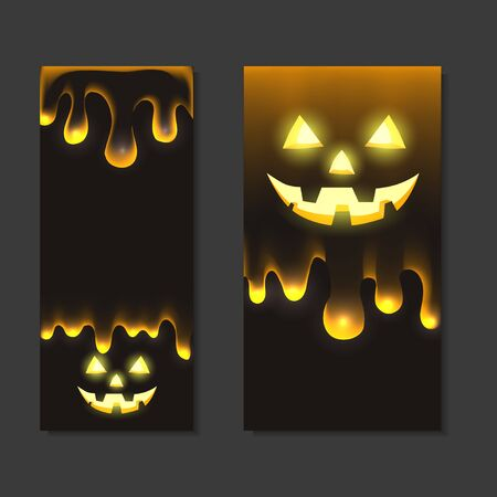 Set of vertical halloween banners with jack lamp and flowing drops of transparent slime on a dark background. Holiday card. Vector template for invitation, greeting cards and your design.