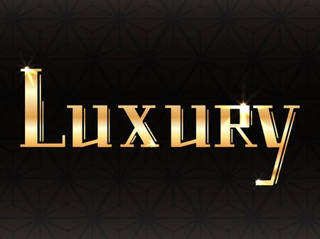 Luxury gold lettering on dark background with decoration. Printed inscription. Magnificence. The object is separate from the background. Vector element for greeting cards, templates and your design. Ilustração
