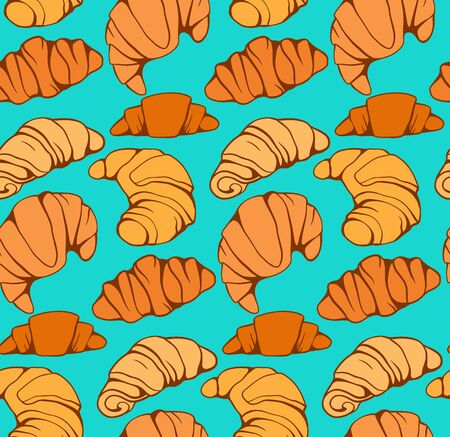 Seamless pattern with cartoon croissants and buns on turquoise background. French appetizer. Treats for the holidays. Bakery product. Vector texture for wallpaper, backdrop, cards and your creativity.