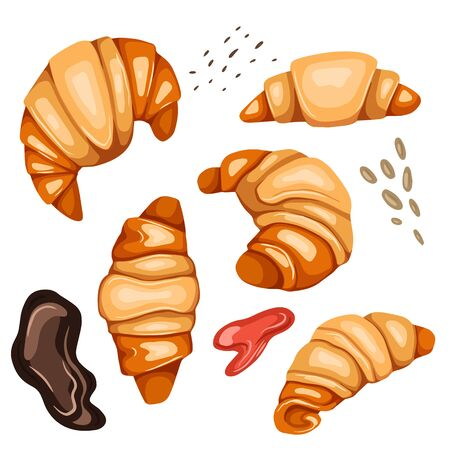 Set of cartoon croissants and various types of topping. Nut, sesame seeds, chocolate and syrup. French pastries. Bun for breakfast. Vector colorful element for recipe, card and your creativity. 일러스트