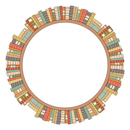 Round frame of bookshelves with colorful books. Library and file cabinet. Knowledge and education. Contour vector border for frames, invitation, cards and your design.