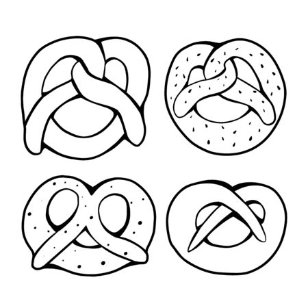 Set of various outline pretzels. Objects are separate from the background. German appetizer. Treats for the holidays. Bakery product. Vector object for articles, menus, cards and your creativity. 向量圖像