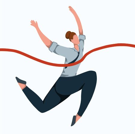 Flat illustration of a running business woman tearing a finishing tape. Effort and victory. Achievements of goals. Champion at work. Successful employee. Vector image for your design.