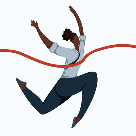 Flat illustration of a running african business woman tearing a finishing tape. Effort and victory. Achievements of goals. Champion at work. Successful employee. Vector image for your design.