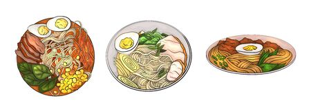 Set of cartoon dishes with noodles. Japanese traditional ramen. Asian different lunch. The object is separate from the background. Vector element for menu, recipes and your design. Stock Illustratie