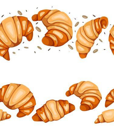 Frontera sin costuras con croissants de dibujos animados, nueces y sésamo. Aperitivo francés. Golosinas para las vacaciones. Producto de panadería. Línea de vector para marcos, telón de fondo, tarjetas y tu creatividad.