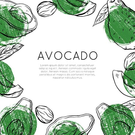 Square card with sketch avocado with green grunge spots and place for text. Healthy keto diet. Vegetarian engraving banner. Vector outline template for greeting cards, menu, recipes and your design. Illusztráció