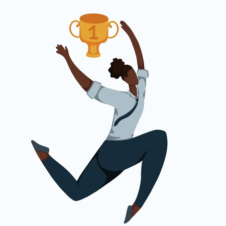 Flat illustration of a running african business woman with winner cup. Effort and victory. Achievements of goals. Champion at work. Successful employee. Vector image for your design.