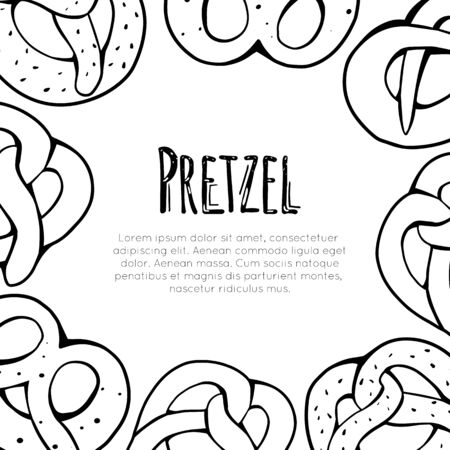 Square card with outline cartoon pretzels and place for text. Banner with contour Bavarian baked treats. Vector template for greeting cards, menu, recipes and your design.