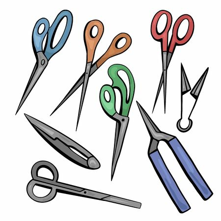 Set of sketches of various types of color scissors. Secateurs and nippers. Sewing, gardening and hairdressing scissors. Contour cartoon vector objects separately from the background.