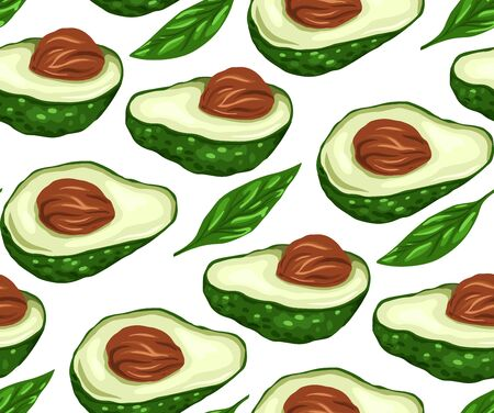 Seamless pattern with avocado halves and leaf on a white background. Ingredients for Guacomole. Keto diet. Vector texture for wallpaper, fabrics, wrapping paper and your design.