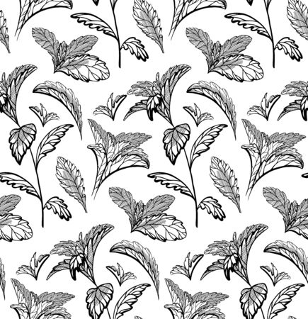 Seamless herbal pattern with stevia and peppermint plants. Nature and naturalness. Hand drawn background with strokes. Vector sketch texture for wallpapers, backgrounds, menus and your design.