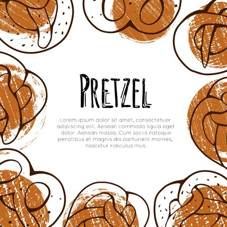 Square card with outline cartoon pretzels, grunge circles and place for text. Banner with contour Bavarian baked treats with scratches. Vector template