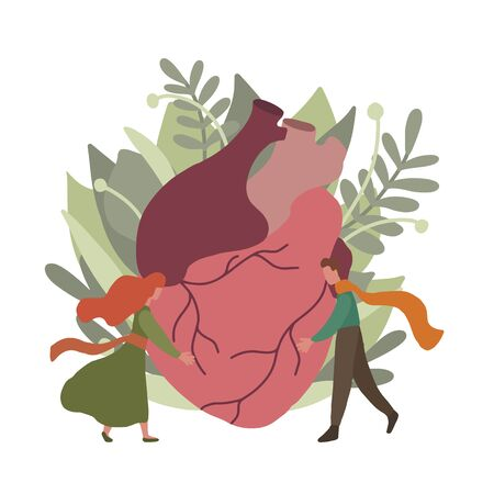 Flat illustration of realistic heart with leaves, foliage and small hugging couple. Relationship in nature. Eco card for Valentine Day. Save the earth. Vector element for your creativity Reklamní fotografie - 134863077