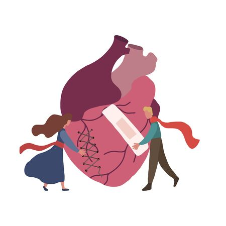 Flat illustration of realistic heart with small hugging couple. Caring for a broken heart .Crisis in relationship. Vector element for Valentine card, banner and your creativity
