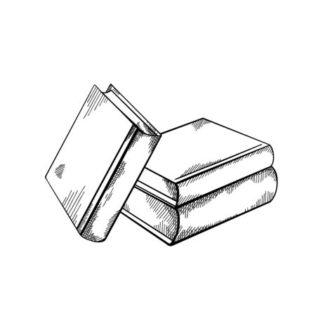 Esquissez des piles de livres avec des hachures. Gravure dessin noir et blanc. Connaissance et sagesse. Image vectorielle pour badges, cartes, diapositives et votre créativité.