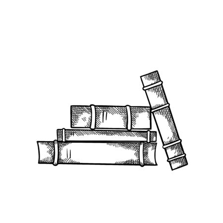 Sketch piles of books with hatching front view. Engraving black and white drawing. Knowledge and wisdom. Vector image for badges, cards, slides and your creativity. Illustration