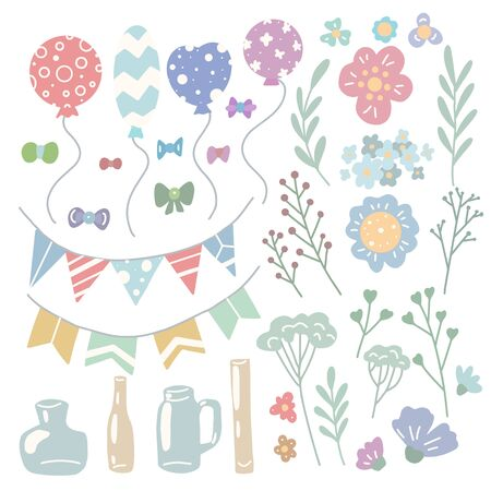 Set of holiday decorations for invitations and cards. Flat hand drawn items. Balloons, flowers, herbs, vases, flags and bows. Vector gentle objects separate from the background. Ilustrace