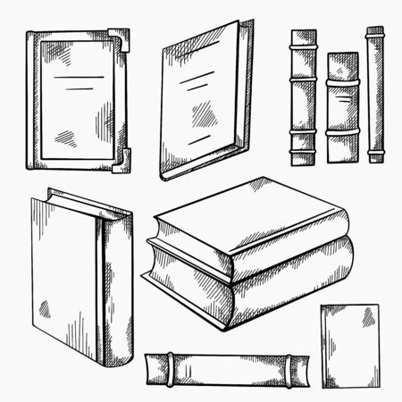 Set of sketches of various old books with shading. Front and side view. Notebooks. Library and bookshelves. Engraving vector element for cards, labels and your design.
