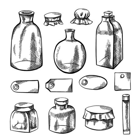 Set of glass bottles, flasks and labels. Pencil sketch with hatching. Natural pharmacy. Capacities for medicines and natural cosmetics. Vector element separately from the background.