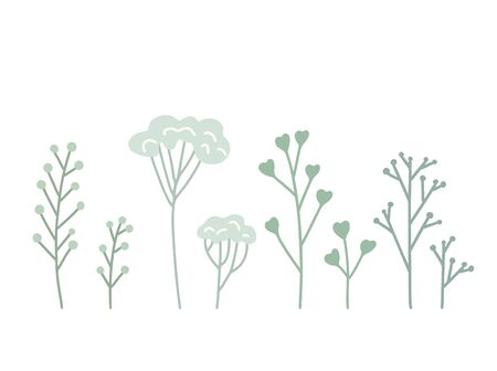 Set of flat hand drawn herb, twig and grass. Elements of the lagoon decor. Vector gently drawn objects for cards, invitations, pin, stickers and your creativity.