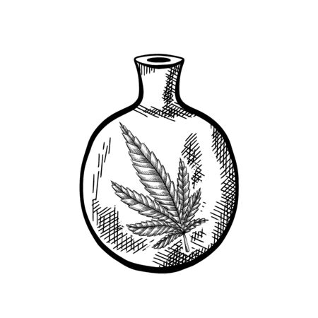 Natural herbal medicine. Glass bottle with a leaf of marijuana. Black and white sketch with a hatch. Engraving vector object for articles, banners and your design. Ilustrace