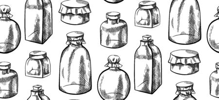 Seamless black and white texture with sketchy glass jars and flasks with hatching. Natural medicine.Vial for cosmetics. Vector pattern for fabrics, covers, wallpapers and your creativity. Ilustrace