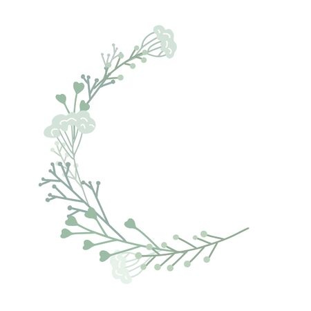 Semicircular frame with plants, branches and grass. Tender round flat hand drawn border. Vector circle lagoon element for greeting cards, invitation cards and your design.