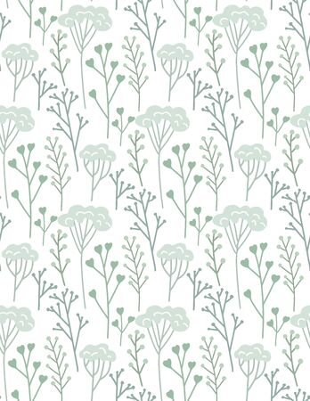 Seamless flat hand drawn pattern with blue branches, dill and twig on white background. Vector rustic texture for wallpaper, fabrics and your creativity. Ilustrace