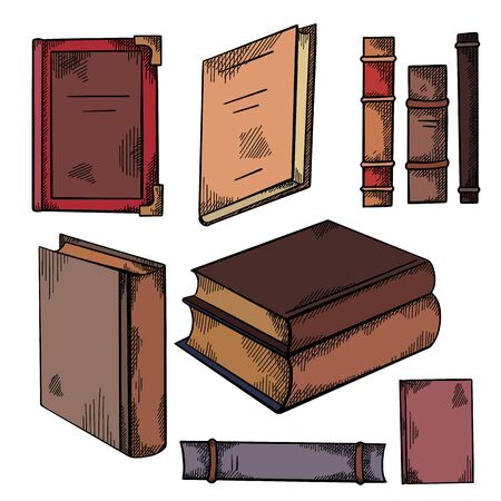Set of colorful sketches of various old books with shading. Front and side view. Notebooks. Library and bookshelves. Engraving vector element for cards, labels and your design.