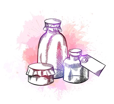 Natural pharmacy. Sketch neon illustration of vial, bottles with labels, hatching and watercolor splashes. Healthcare and medicine. Engraving vector objects for labels, cards and your creativity