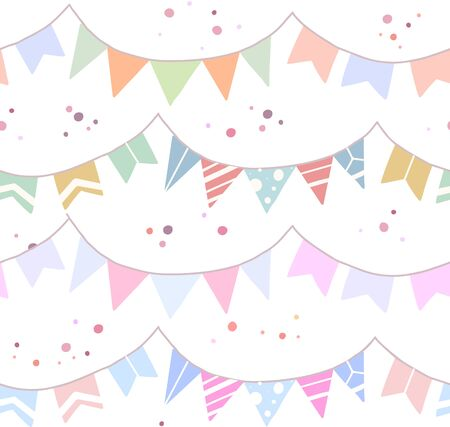 Seamless festive pattern with flat drawn flags, confetti on white background. Wallpaper for birthday and anniversary. Vector texture for fabrics, wrapping paper and your creativity. Ilustrace